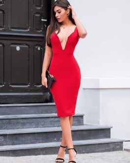 Sexy Party Dress Plunging Bodycon Dress Sleeveless Shaping Midi Dress