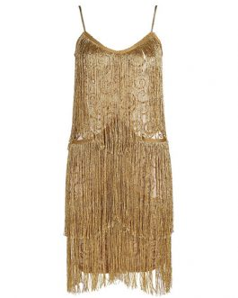 Sexy Party Dress Sleeveless Bodycon Dress Fringe Gold Club Dress