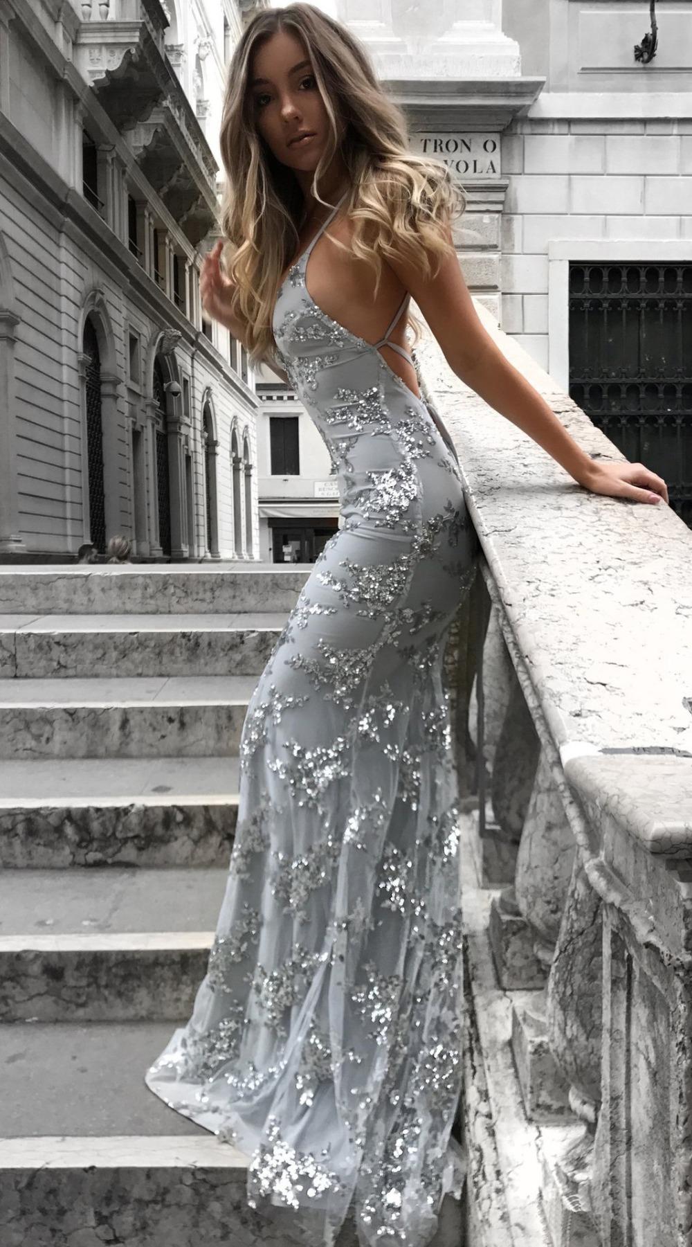 Sexy Party Dress Sleeveless Straps Glitter Sequins Backless Long Dress Women Maxi Dress 7
