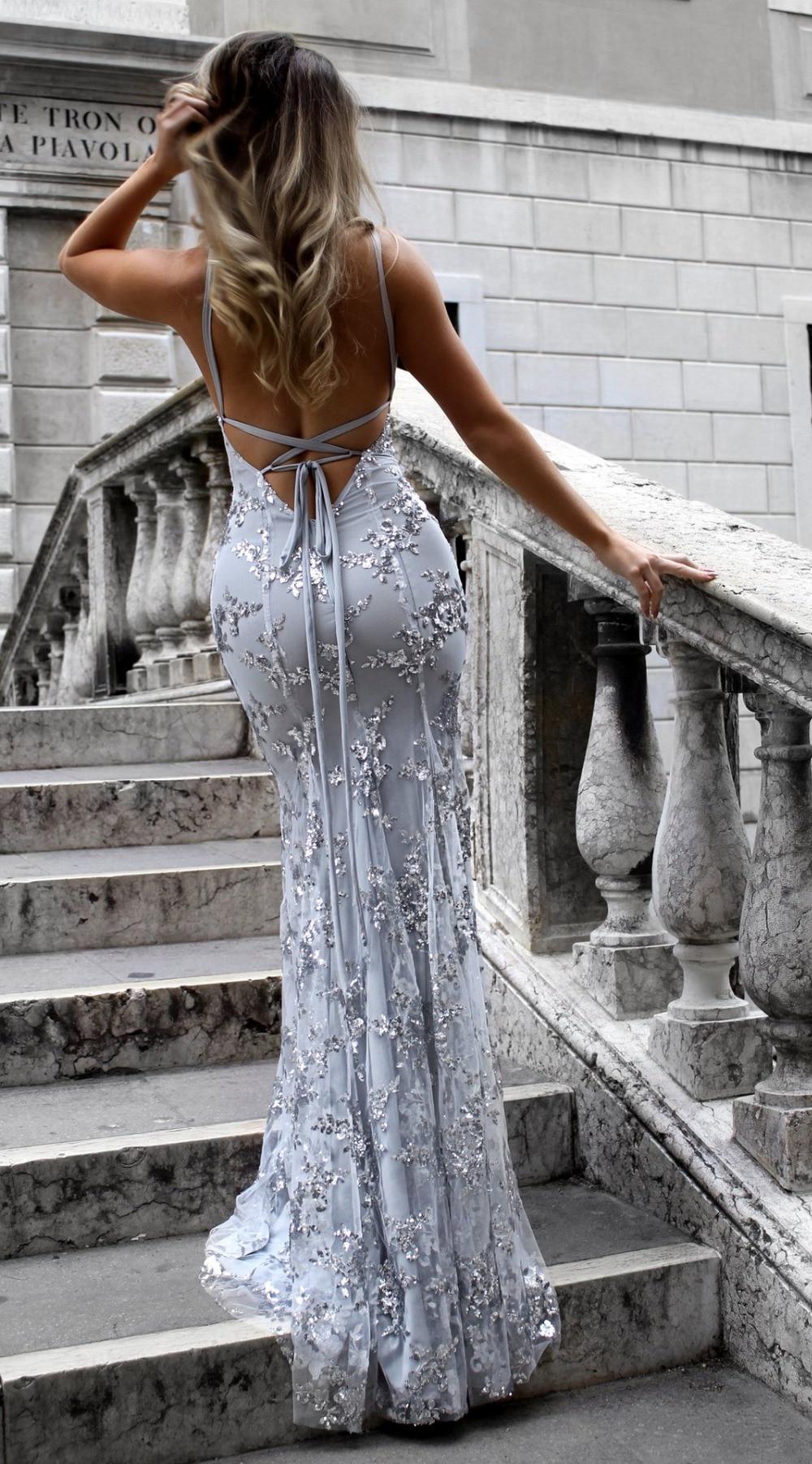 Sexy Party Dress Sleeveless Straps Glitter Sequins Backless Long Dress Women Maxi Dress 8