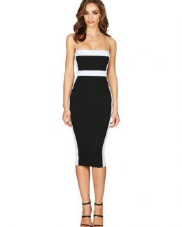 Sexy Party Dress Sleveless Two Tone Shaping Midi Dress