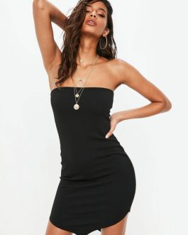 Sexy Party Dress Strapless Bodycon Dress Solid Color Shaping Mini Dress