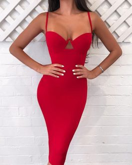 Sexy Party Dress Straps Cut Out Summer Dress Shaping Pencil Dress