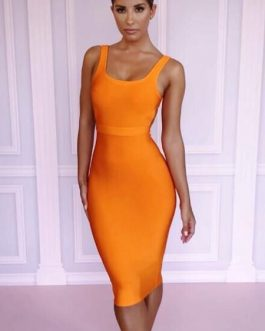 Sexy Party Dress U Neck Bodycon Dress Orange Club Dress