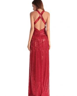 Sexy Party Dress V Neck Sleeveless Sequins Glitter Backless Maxi Dress