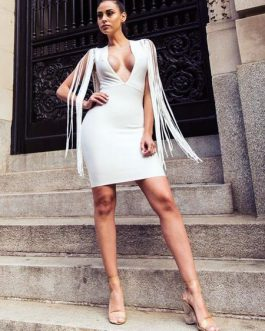 Sexy Party Dress White Fringe Plunging Women Bodycon Dress Birthday Dress