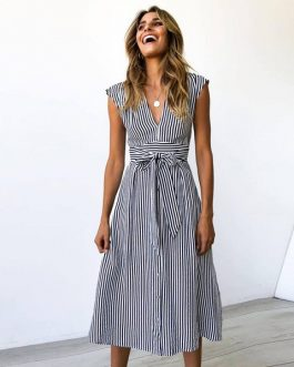 Sexy Striped Spring Elegant Casual Dress