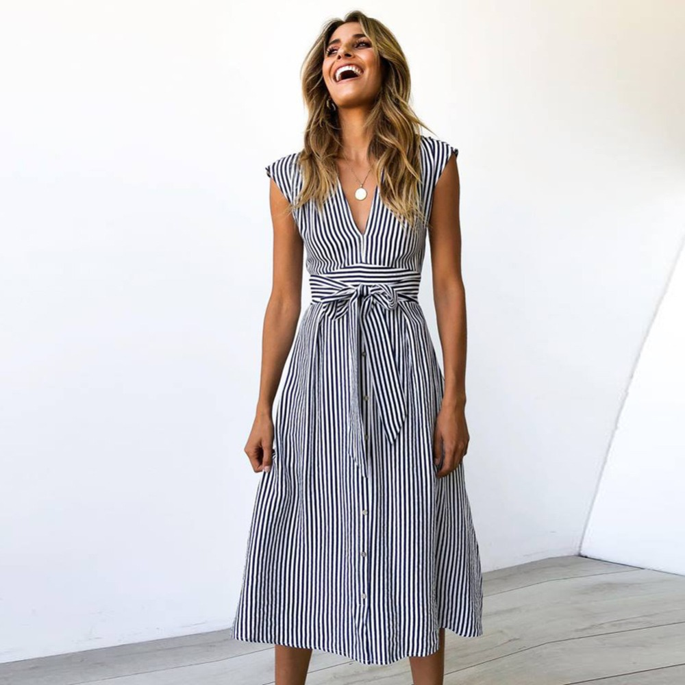 Sexy Striped Spring Elegant Casual Dress 1