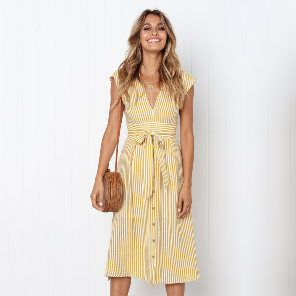 Sexy Striped Spring Elegant Casual Dress 10