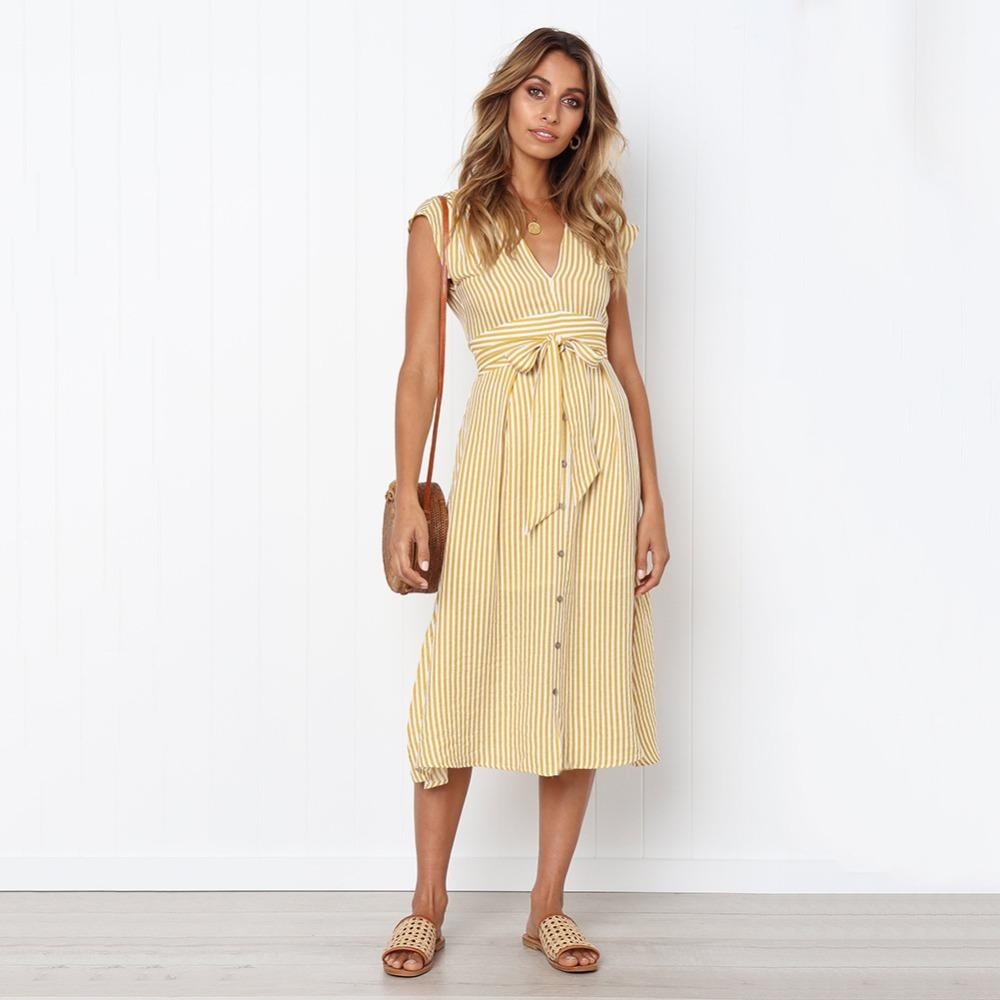 Sexy Striped Spring Elegant Casual Dress 11