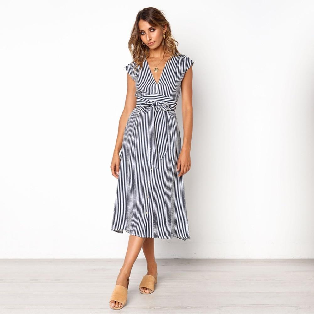 Sexy Striped Spring Elegant Casual Dress 2