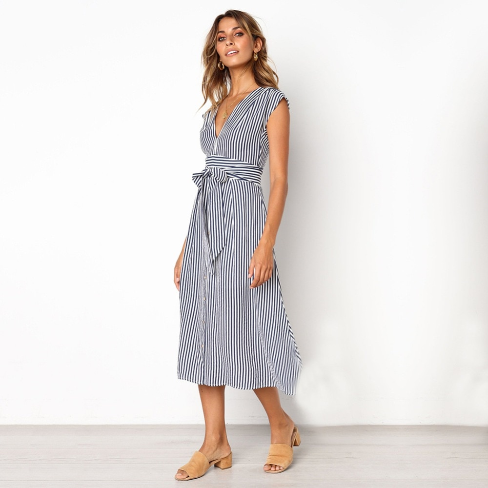 Sexy Striped Spring Elegant Casual Dress 3