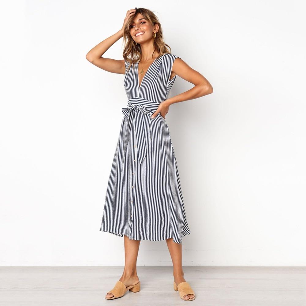 Sexy Striped Spring Elegant Casual Dress 5