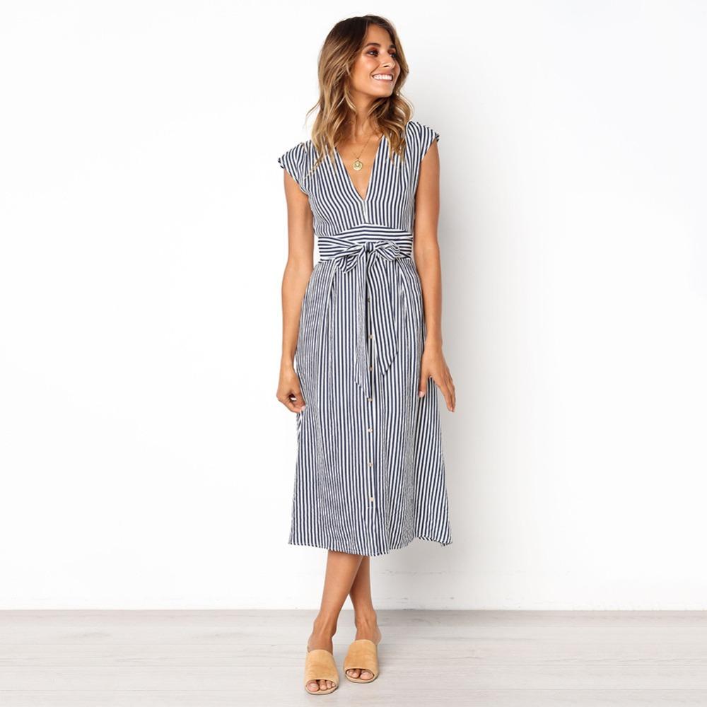 Sexy Striped Spring Elegant Casual Dress 6