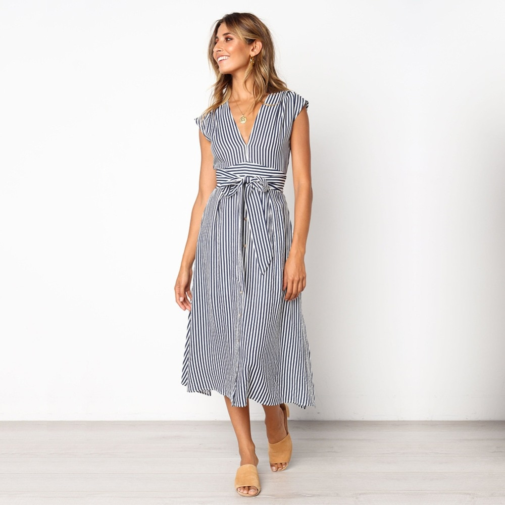 Sexy Striped Spring Elegant Casual Dress 7
