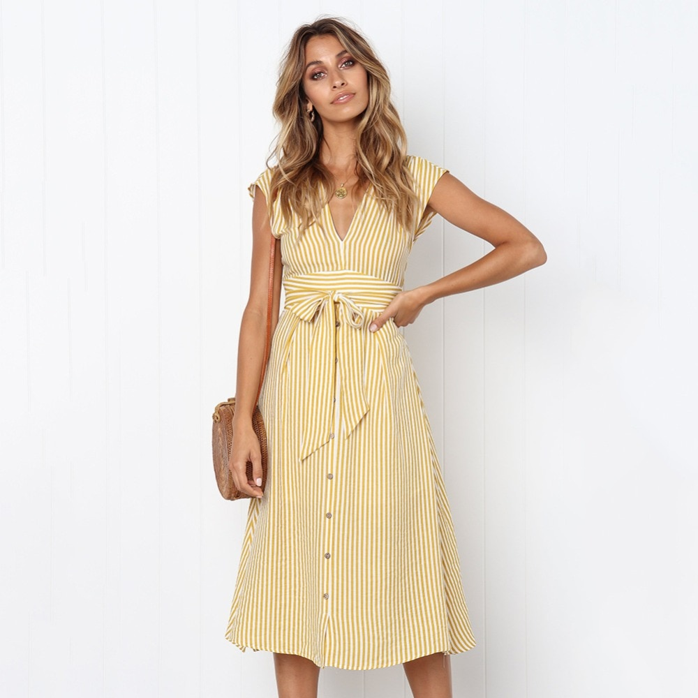 Sexy Striped Spring Elegant Casual Dress 9
