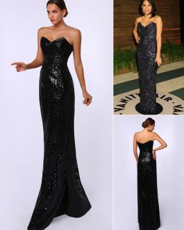 Sheath Black Sequined Sweetheart Neck Evening Dress Inspired by Rosario Dawson at Oscar