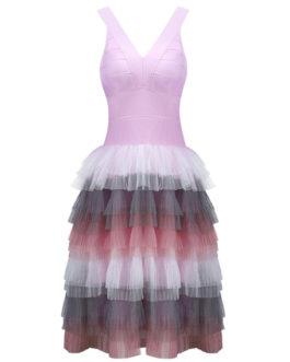 Short Party Dress Tiered Birthday Dress V Neck Women Pink Semi Formal Dress