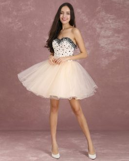 Short Prom Dress Tulle Beading Boned Party Dresses