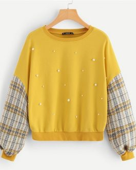 Shoulder Plaid Pullover Sweatshirt Autumn Modern Lady Women Sweatshirts