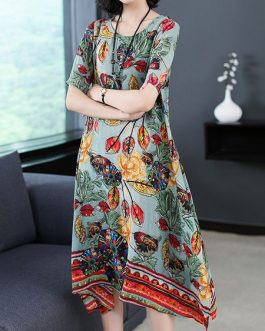 Silk Dress Half Sleeve Irregular Hem Dress