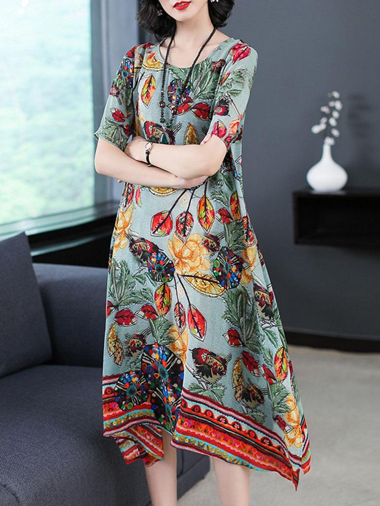 Silk Dress Half Sleeve Irregular Hem Dress