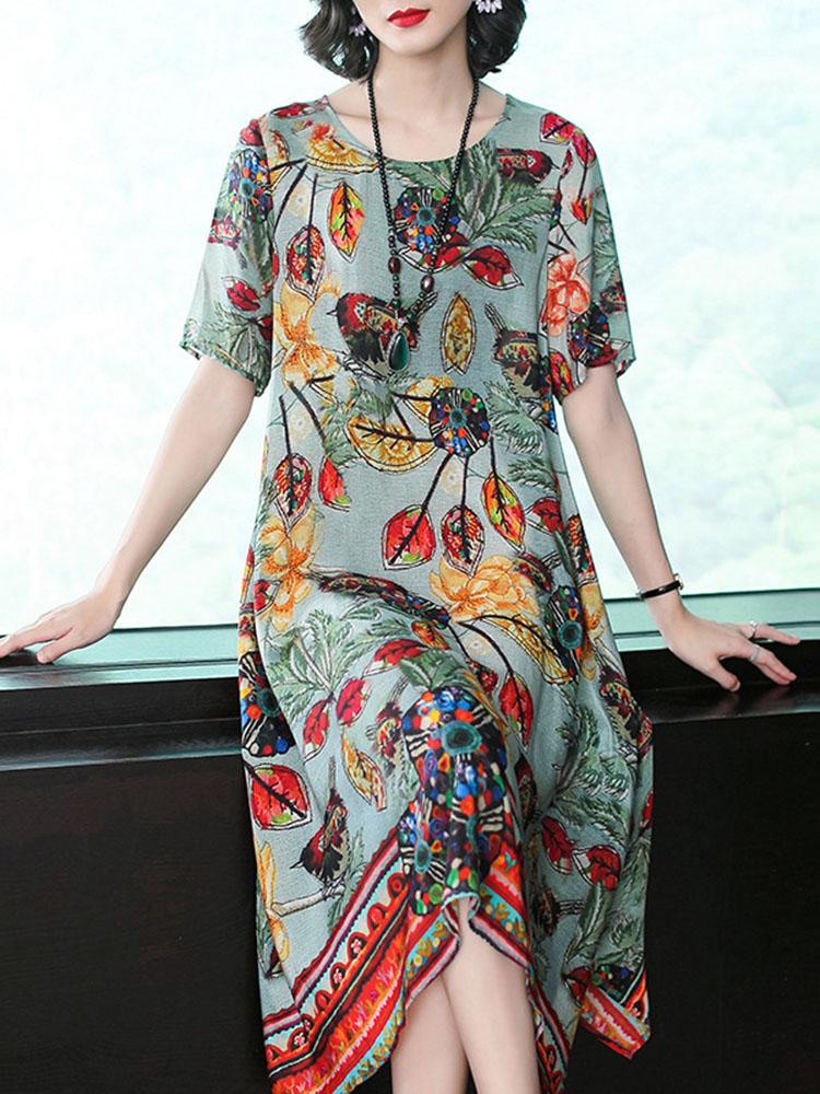 Silk Dress Half Sleeve Irregular Hem Dress1