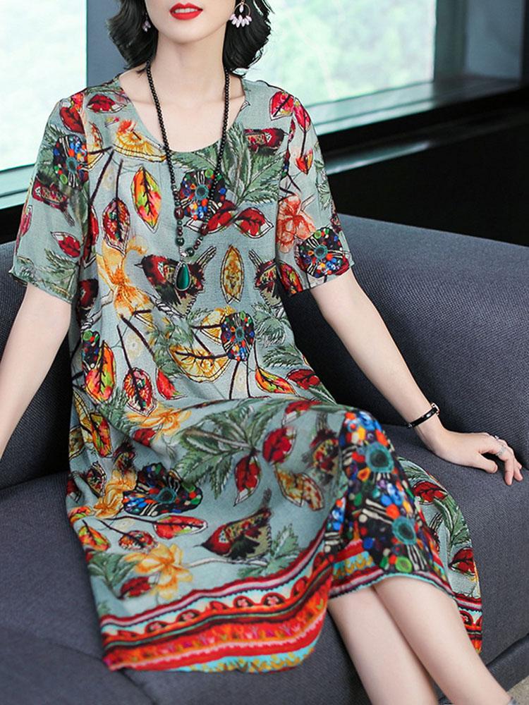 Silk Dress Half Sleeve Irregular Hem Dress2