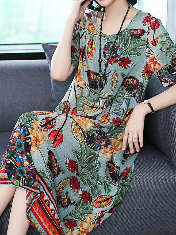 Silk Dress Half Sleeve Irregular Hem Dress3
