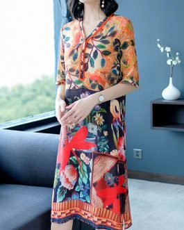 Silk Dress Half Sleeve V-Neck Dresses