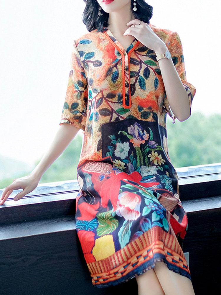 Silk Dress Half Sleeve V Neck Dresses1