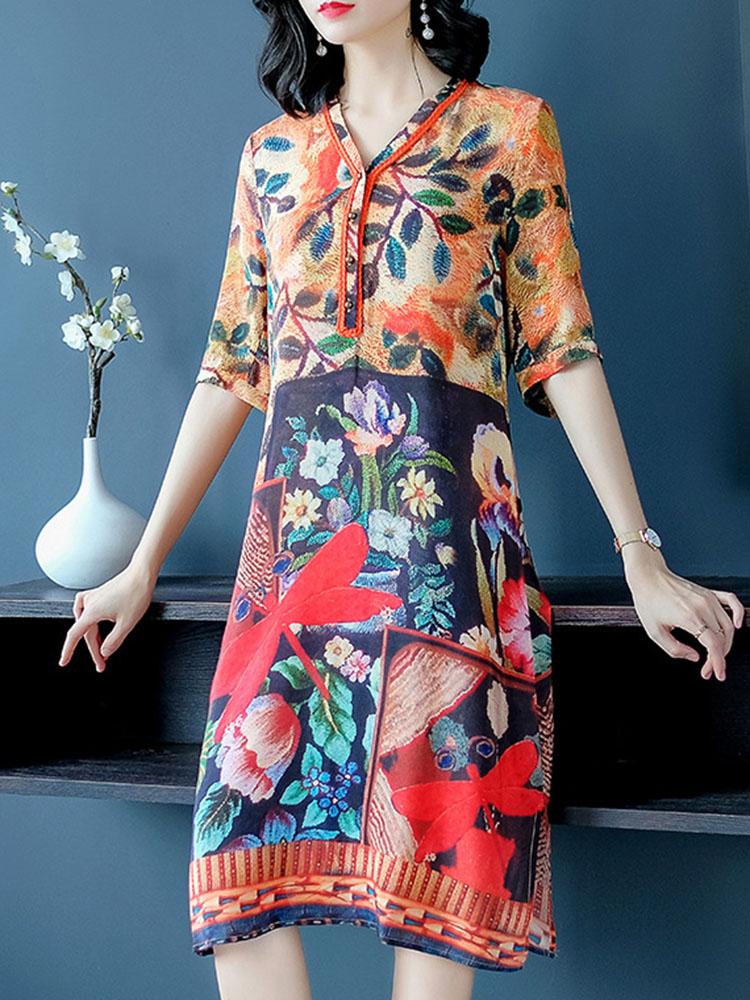 Silk Dress Half Sleeve V Neck Dresses2