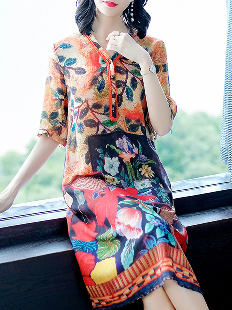 Silk Dress Half Sleeve V Neck Dresses3