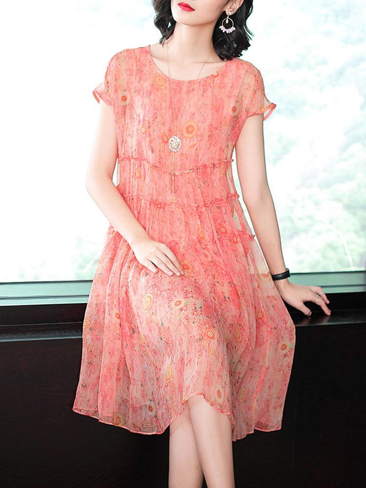 Silk Dress Short Sleeved O Neck Dress