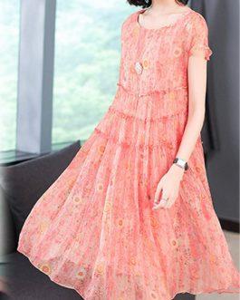 Silk Dress Short Sleeved O-Neck Dress