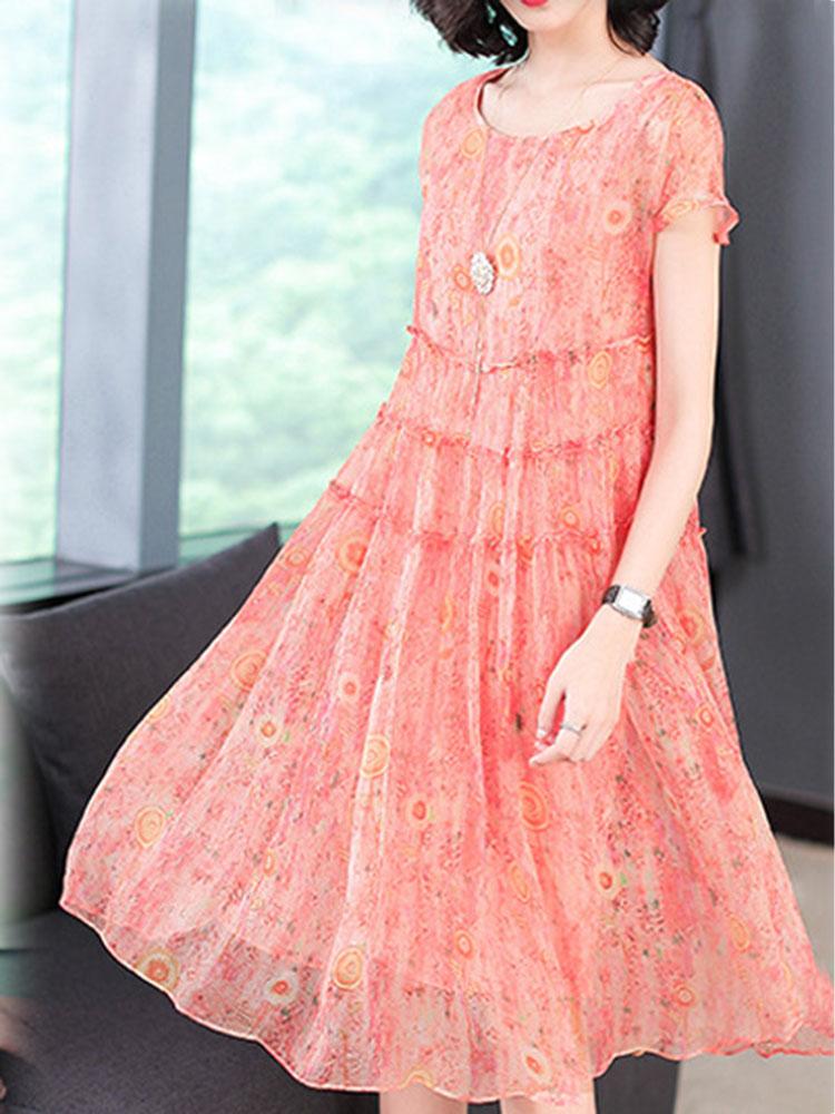 Silk Dress Short Sleeved O Neck Dress1
