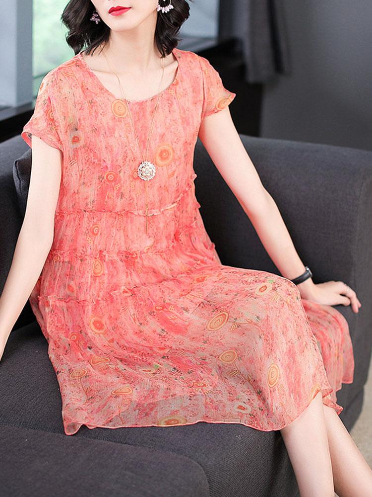 Silk Dress Short Sleeved O Neck Dress2