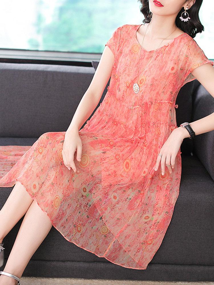 Silk Dress Short Sleeved O Neck Dress3