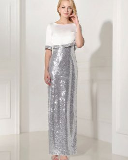 Silver Evening Dress Sequin 2 Piece Mother Dress Sheath Split V Neck Flower Ankle Length Party Dress