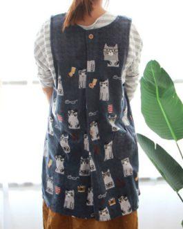 Sleeveless Pocket Japanese Vintage Apron Dress