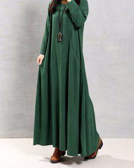 Solid Color Irregular Hem Maxi Dress