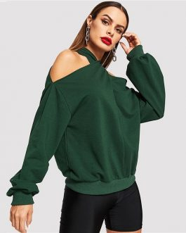 Solid Off the Shoulder Pullover Autumn Women Sweatshirts