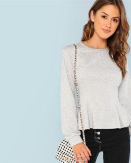 Solid Sweatshirt 2018 Autumn Campus Women Pullovers Sweatshirts