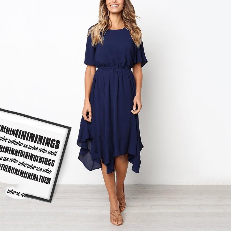 Spring Midi Swing Shirt Casual Fashion Dresses 1