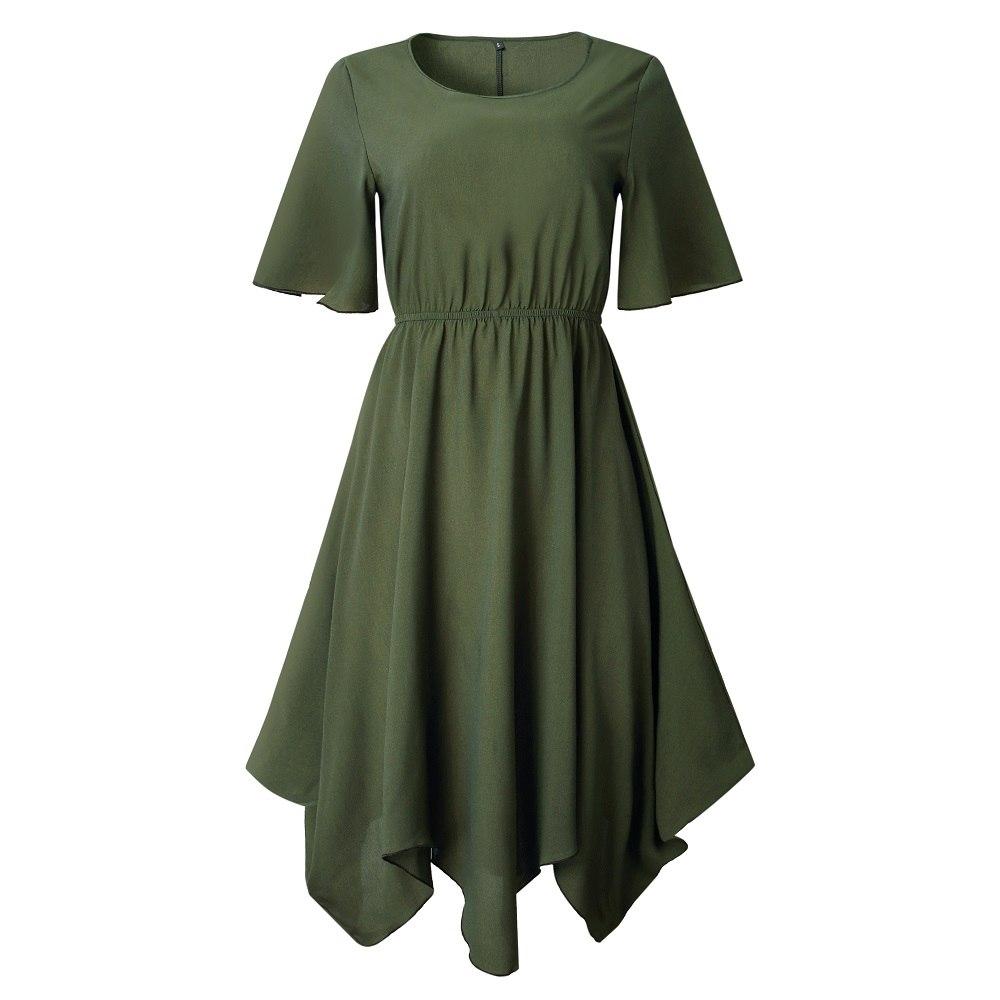 Spring Midi Swing Shirt Casual Fashion Dresses 16