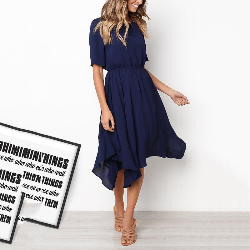 Spring Midi Swing Shirt Casual Fashion Dresses 3