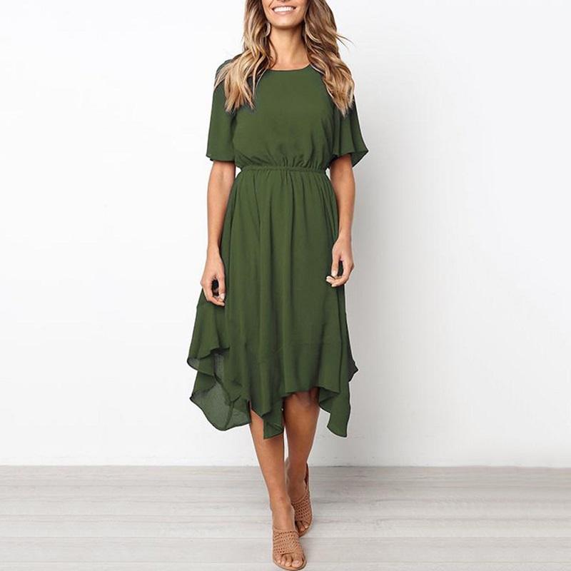 Spring Midi Swing Shirt Casual Fashion Dresses 5