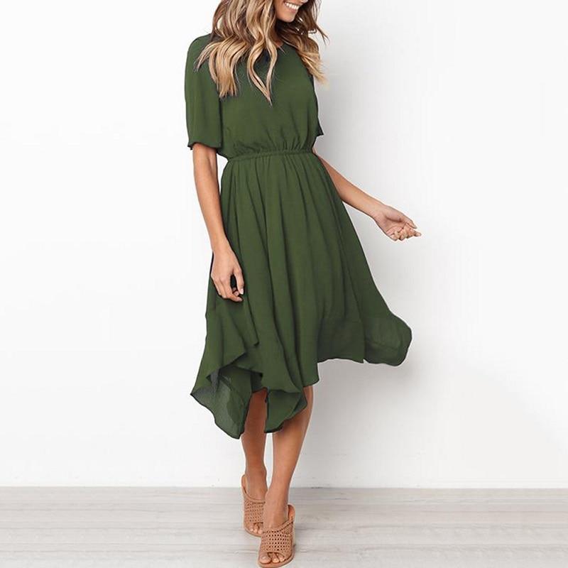 Spring Midi Swing Shirt Casual Fashion Dresses 6