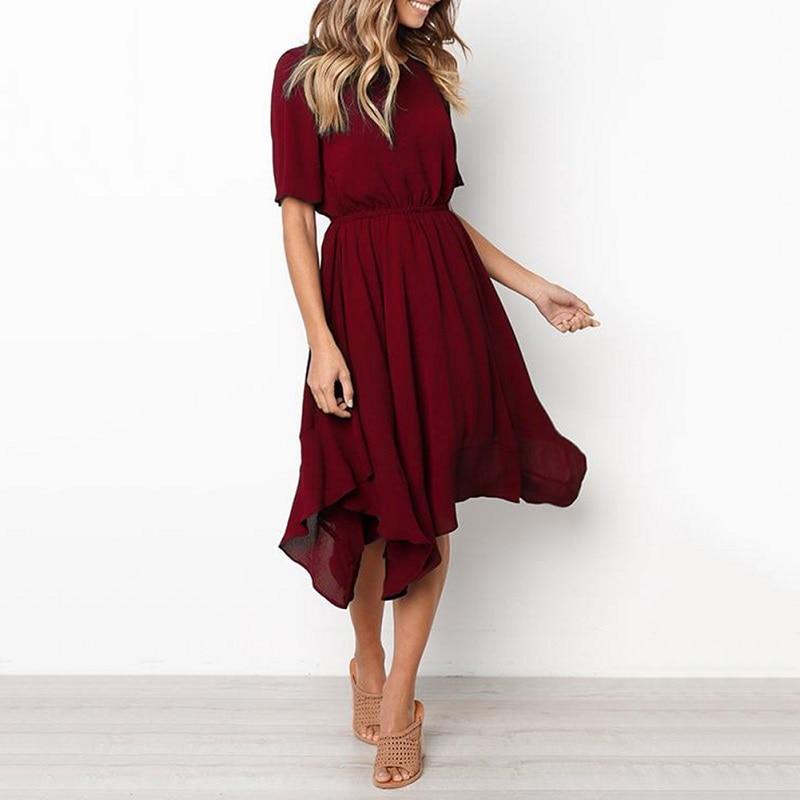 Spring Midi Swing Shirt Casual Fashion Dresses 9