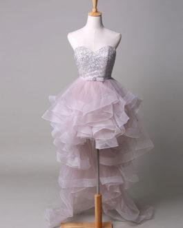 Strapless Beading Sweetheart Tulle Court Train Evening Dress